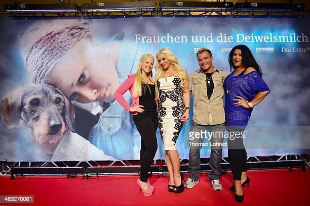 Actress Daniela Katzenberger her halfsister Jennifer Frankhauser mother Iris Klein with her fourth husband Peter Klein pose on April 7 2014 in...