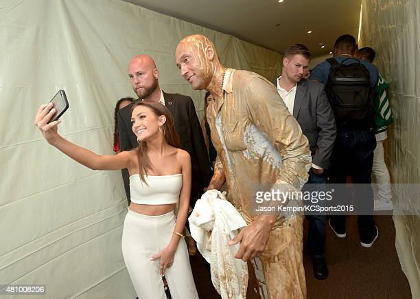 Actress Daniela Nieves and Legend Award recipient Derek Jeter pose backstage at the Nickelodeon Kids' Choice Sports Awards 2015 at UCLA's Pauley...