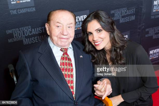 Actress Daniela Ruah poses for a picture with Max Webb a Holocaust Survivor and celebrating his 100th birthday at the United States Holocaust...