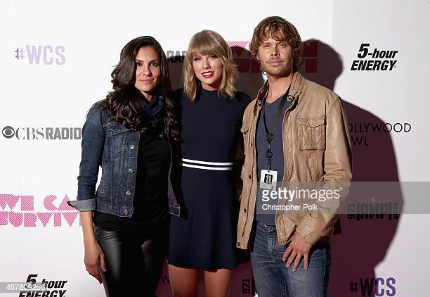 Actress Daniela Ruah recording artist Taylor Swift and actor Eric Christian Olsen pose backstage during CBS Radio's We Can Survive at the Hollywood...