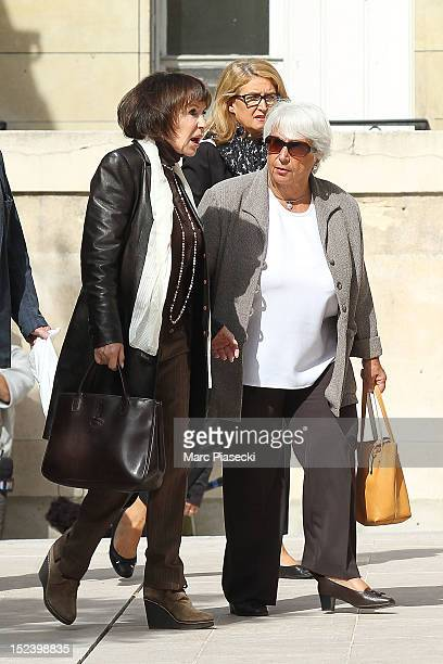 Actress Daniele Evenou arrives to attend actor Pierre Mondy's funeral at Eglise SaintHonored'Eylau on September 20 2012 in Paris France