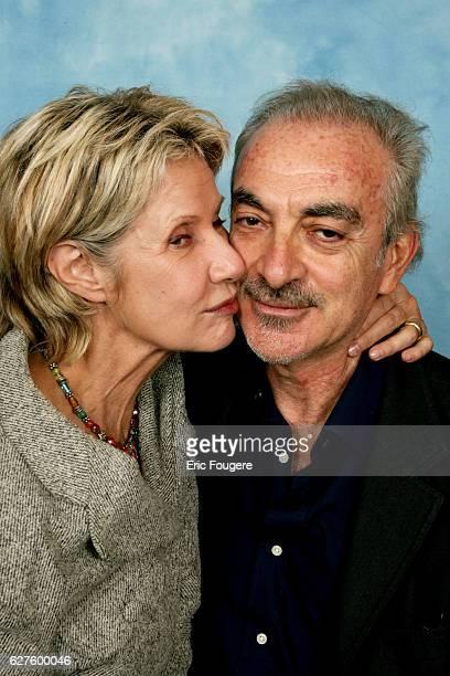 Actress Daniele Gilbert and her husband Patrick Scemama on the TV set.