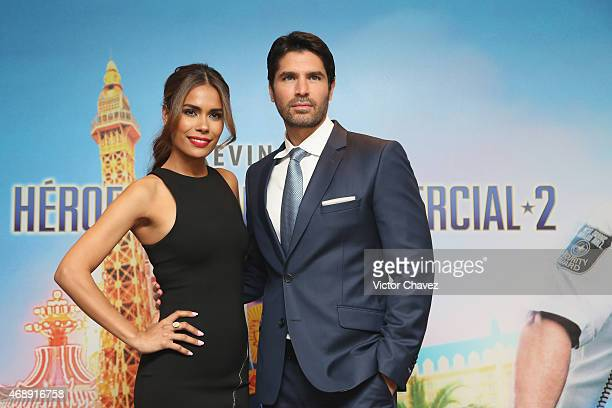 Actress Daniella Alonso and actor Eduardo Verastegui attend a photocall to promote the film Paul Blart Mall Cop 2 at Four Seasons Hotel on April 8...