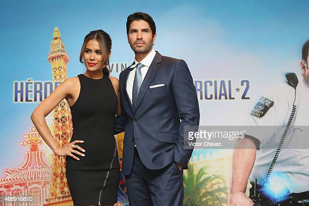 """Actress Daniella Alonso and actor Eduardo Verastegui attend a photocall to promote the film """"Paul Blart Mall Cop 2"""" at Four Seasons Hotel on April 8,..."""