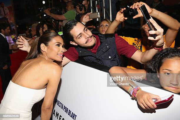 Actress Daniella Alonso poses with fans during the Paul Blart Mall Cop 2 Mexico City advance screening at Cinemex Antara Polanco on April 8 2015 in...
