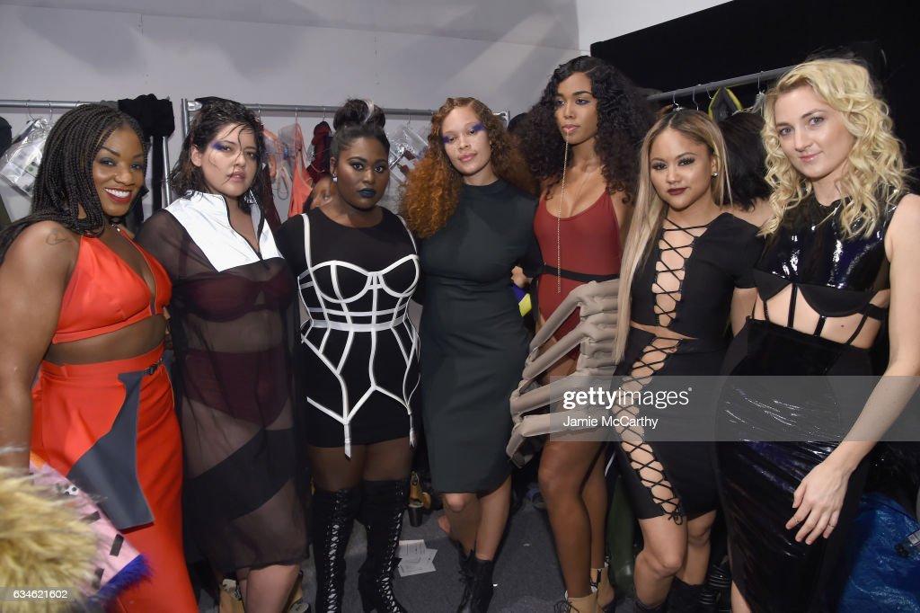 Actress Danielle Brooks poses with models backstage for the Chromat collection during, New York Fashion Week: The Shows at Gallery 3, Skylight Clarkson Sq on February 10, 2017 in New York City.