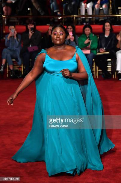 Actress Danielle Brooks walks the runway at Christian Siriano fashion show during the February 2018 New York Fashion Week on February 10 2018 in New...