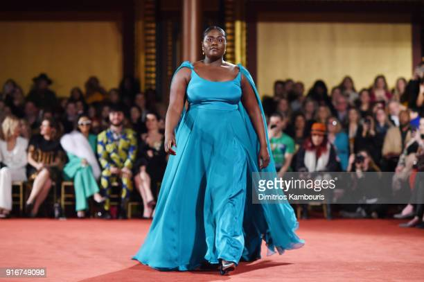 Actress Danielle Brooks walks the runway at the Christian Siriano fashion show during New York Fashion Week at Grand Lodge on February 10 2018 in New...