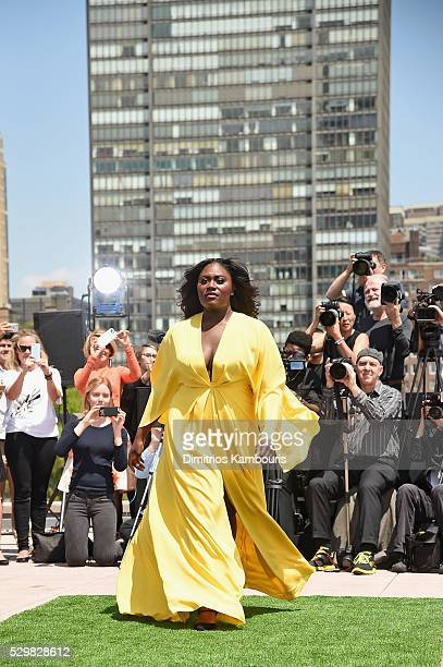 Actress Danielle Brooks walks the runway during the Christian Siriano x Lane Bryant Runway Show at United Nations on May 9 2016 in New York City