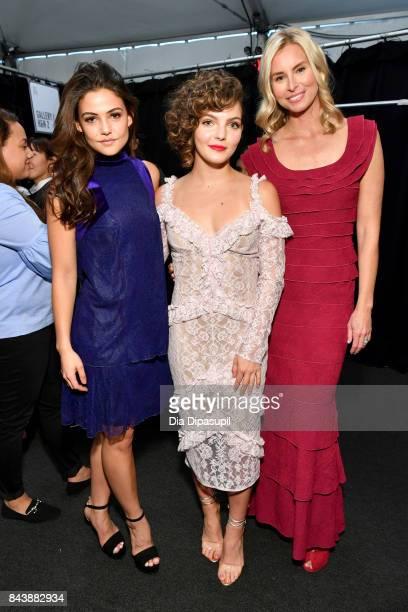 Actress Danielle Campbell actress Camren Bicondova and model Niki Taylor pose backstage before the Tadashi Shoji fashion show at Gallery 1 Skylight...