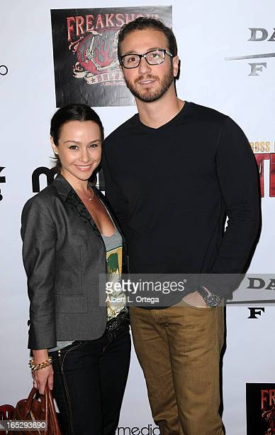 Actress Danielle Harris and David Gross arrive for the Los Angeles Premiere of 'Stiches' held at Cinespace on April 1 2013 in Los Angeles California