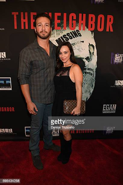 Actress Danielle Harris and her husband arrive at the premiere of 'The Neighbor' at Brenden Theaters at Palms Casino Resort on August 25 2016 in Las...