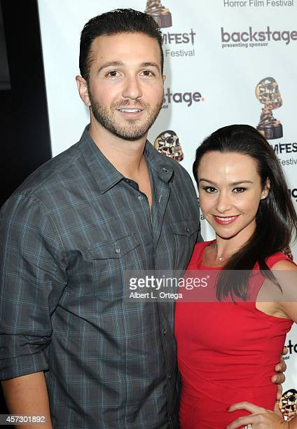 Actress Danielle Harris and husband arrive for ScreamFest 2014 'See No Evil 2' Screening held at TCL Chinese 6 Theatres on October 15 2014 in...
