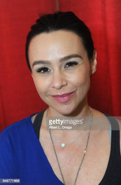 Actress Danielle Harris signs autographs on Day 2 of Monsterpalooza Held at Pasadena Convention Center on April 15 2018 in Pasadena California