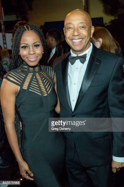 Actress Danielle Mone Truitt and Entrepenuer Russell Simmons attend the 2nd Annual All Def Movie Awards at Belasco Theatre on February 22 2017 in Los...