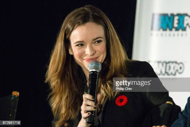 Actress Danielle Panabaker attends 'The Flash QA at Fan Expo Vancouver in the Vancouver Convention Centre on November 11 2017 in Vancouver Canada