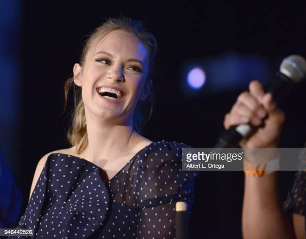 Actress Danielle Savre promotes Warner Bros 'Deep Blue Sea 2' onstage on Day 1 of Monsterpalooza held at Pasadena Convention Center on April 14 2018...