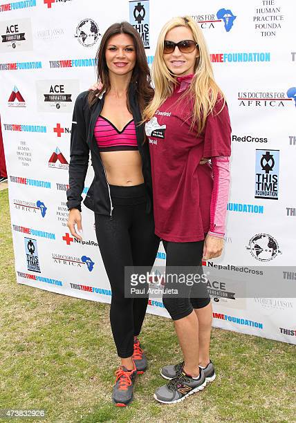 Actress Danielle Vasinova and Reality TV Personality Camille Grammer attend the Relief Run to raise funds for Nepal victims on May 17 2015 in Santa...