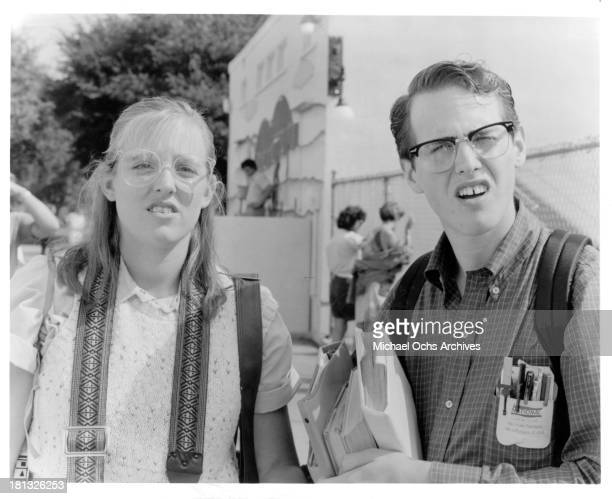Actress Danielle von Zerneck and actor Raphael Sbarge on set of the Buena Vista movie My Science Project in 1985