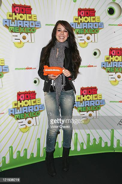 Actress Danna Paola attends the Nickelodeon Kids' Choice Awards Mexico 2011 press conference at Televisa Chapultepec on August 23 2011 in Mexico City...
