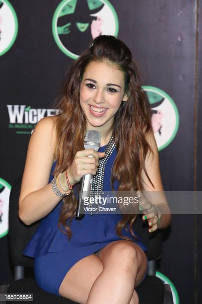 Actress Danna Paola attends the 'Wicked' press conference on October 18 2013 in Mexico City Mexico