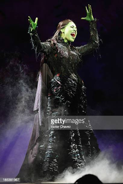 Actress Danna Paola performs on stage during the musical Wicked media call at Teatro Telmex on October 18 2013 in Mexico City Mexico