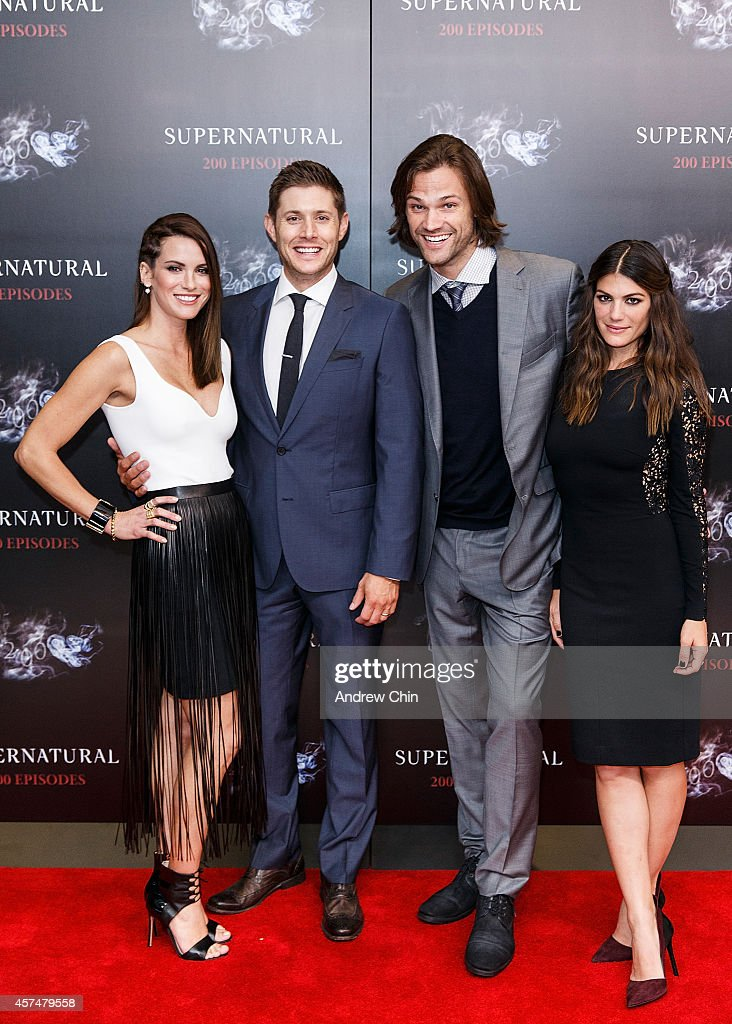 Actress Danneel Ackles, Actor Jensen Ackles, Actor Jared Padalecki and Actress Genevieve Padalecki celebrate the 200th episode of 'Supernatural' at Fairmont Pacific Rim Hotel on October 18, 2014 in Vancouver, Canada.