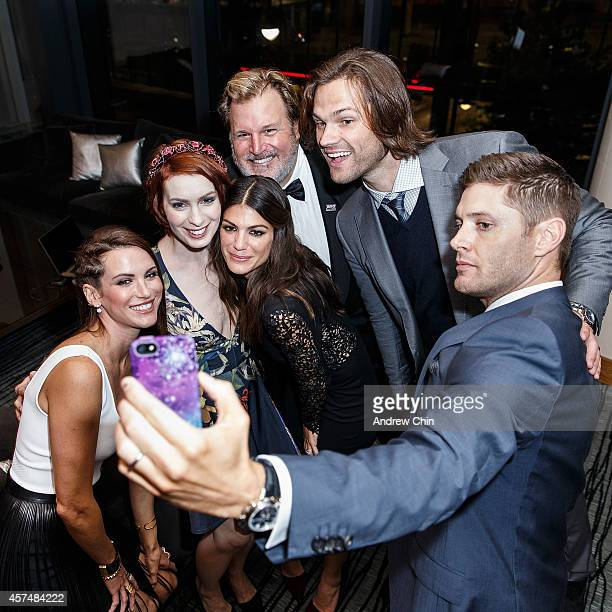 Actress Danneel Ackles Actress Felicia Day Actress Genevieve Padalecki Producer Jim Michaels Actor Jared Padalecki and Actor Jensen Ackles take a...