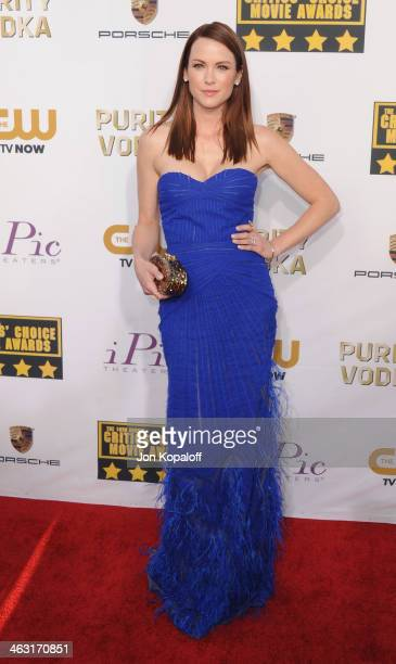 Actress Danneel Ackles arrives at the 19th Annual Critics' Choice Movie Awards at Barker Hangar on January 16 2014 in Santa Monica California
