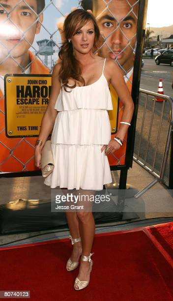 Actress Danneel Harris arrives at the Harold and Kumar Escape from Guantanamo Bay Premiere at the Arclight Cinerama Dome on April 17 2008 in...