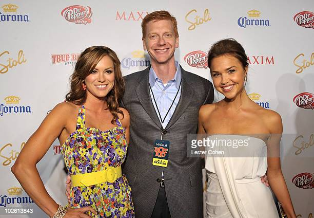 Actress Danneel Harris CEO of Alpha Media Group Stephen Duggan and actress Arielle Kebbel arrive at Maxim's 10th Annual Hot 100 Celebration Presented...