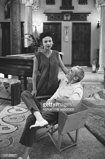 Actress Dany Carrel and film director Andre Cayatte of the Set of the movie Piege pour cendrillon on June 29 1965