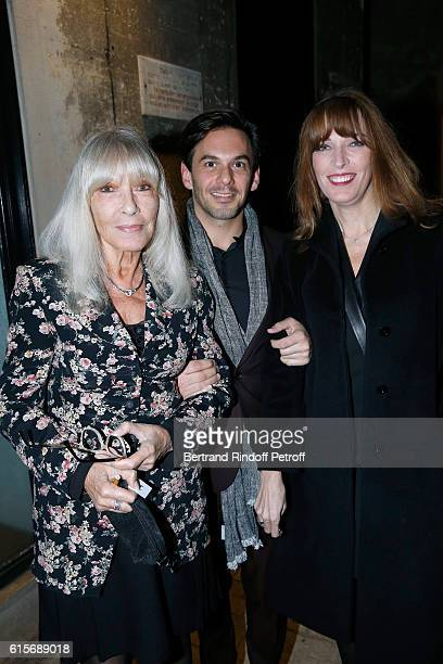 Actress Dany Saval her daughter Stephanie Jarre and Tenor Laurent Arcaro attend the Dinner at Galerie Azzedine Alaia with a performance of the...