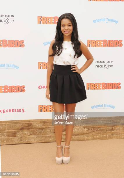 Actress Daphne Blunt arrives at the 'Free Birds' - Los Angeles Premiere at Westwood Village Theatre on October 13, 2013 in Westwood, California.