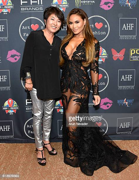 Actress Daphne Joy and SIWY CEO Kris Park attend Art Hearts Fashion Los Angeles Fashion Week Day 2 on October 10 2016 in Los Angeles California