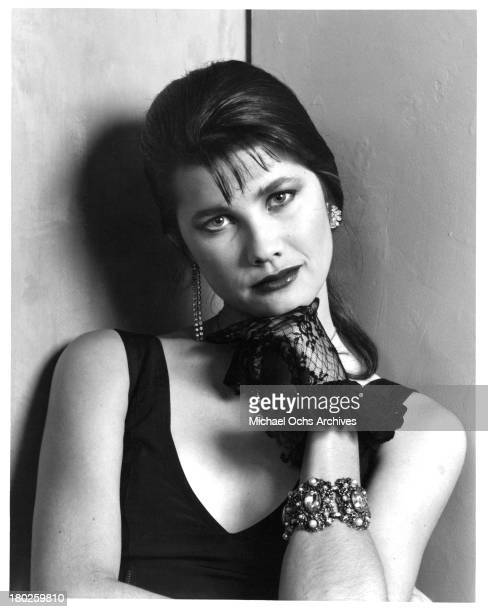 Actress Daphne Zuniga poses on set of the Atlantic Releasing movie 'Modern Girls' in 1986