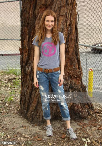 Actress Darby Stanchfield visits Metropolitan High School for an EMA Earth Month event at Metropolitan High School on April 25 2014 in Los Angeles...