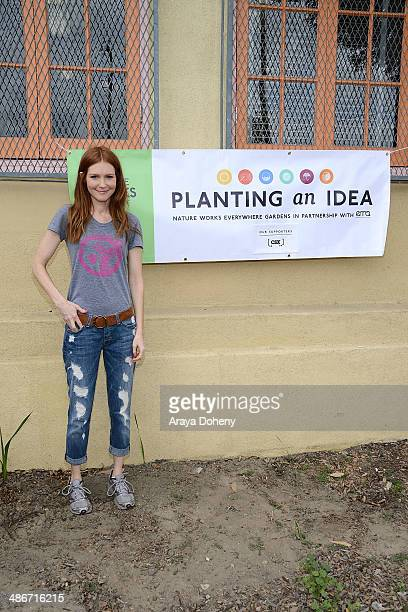 Actress Darby Stanchfield visits Metropolitan High School for an EMA Earth Month eventat Metropolitan High School on April 25 2014 in Los Angeles...