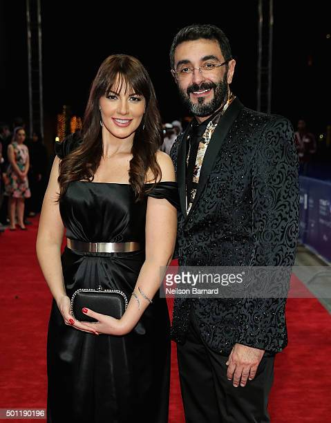 Actress Darine Hamze and director Assad Fouladkar attend the Halal Love premiere during day five of the 12th annual Dubai International Film Festival...