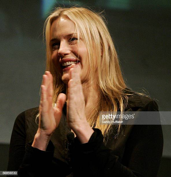 Actress Darryl Hannah speaks at the the Sustainable Biodiesel Summit on Wednesday February 8 2006 at the Convention Center in San Diego California...