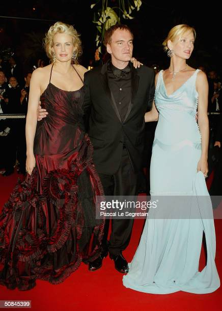 Actress Daryl Hannah Director Quentin Tarantino and actress Uma Thurman arrive to the premiere of Kill Bill II at the Palais des Festivals during the...