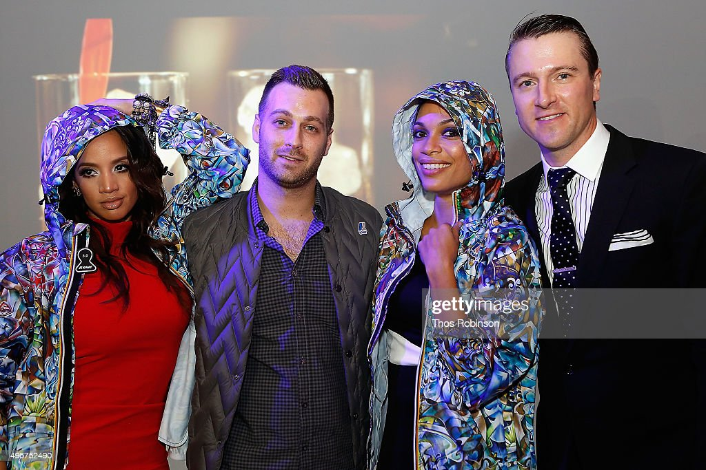 Actress Dascha Polanco, K-Way President Matt Feigin, artist Jack Laroux, and actress Rosario Dawson attend Courvoisier Cognac's Exceptional Journey Campaign Celebration on November 11, 2015 in New York City.