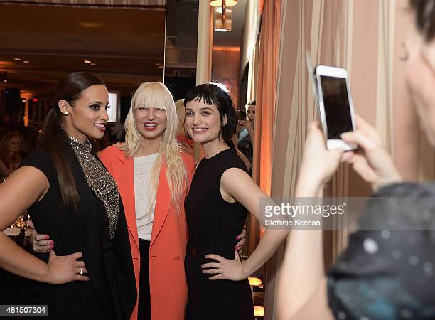 Actress Dascha Polanco recording artist Sia and actress Alison Sudol attend ELLE's Annual Women in Television Celebration on January 13 2015 at...