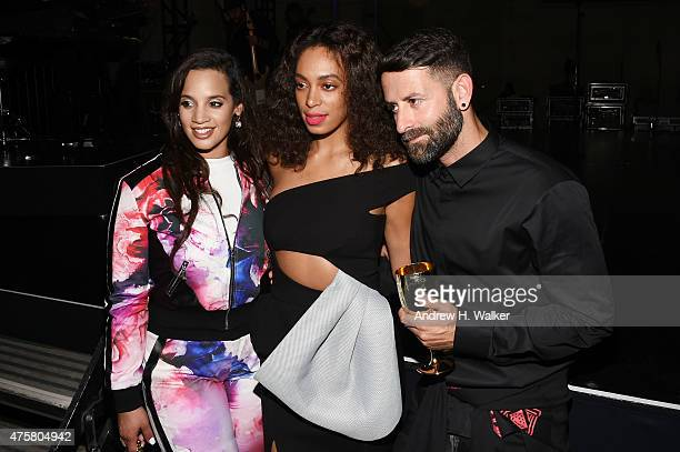 Actress Dascha Polanco singersongwriter Solange Knowles and fashion designer Marcelo Burlon attend the Moet Nectar Imperial Rose x Marcelo Burlon...