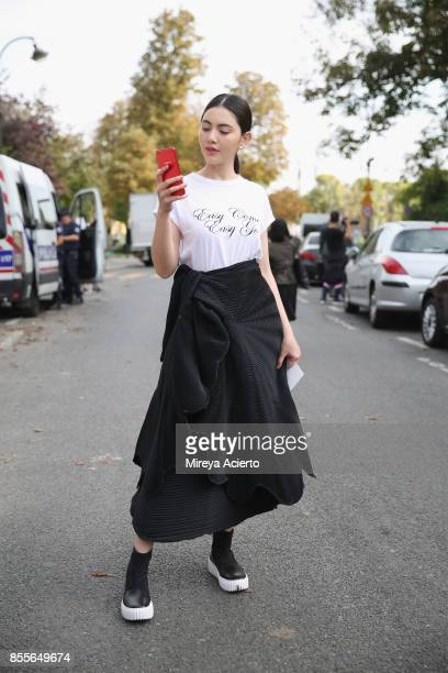 Actress Davika Hoorne attends the Issey Miyake show as part of the Paris Fashion Week Womenswear Spring/Summer 2018 on September 29 2017 in Paris...
