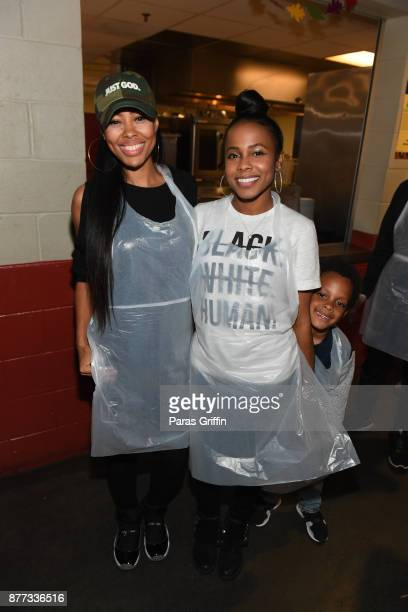 Actress Dawn Halfkenny and actress Marquita Goings attend 2017 No Reservations Needed Thanksgiving Dinner at Atlanta Mission on November 21 2017 in...