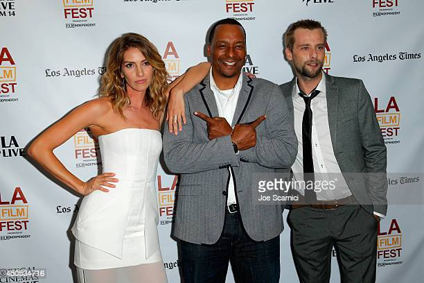 Actress Dawn Olivieri director Deon Taylor and actor Joe Anderson attend the Supremacy premiere during the 2014 Los Angeles Film Festival at Regal...