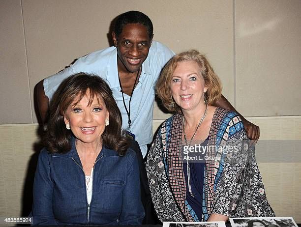 Actress Dawn Wells actor/director Tim Russ and costume designer Deborah Hartwell on day 2 of The Hollywood Show held at The Westin Hotel LAX on...