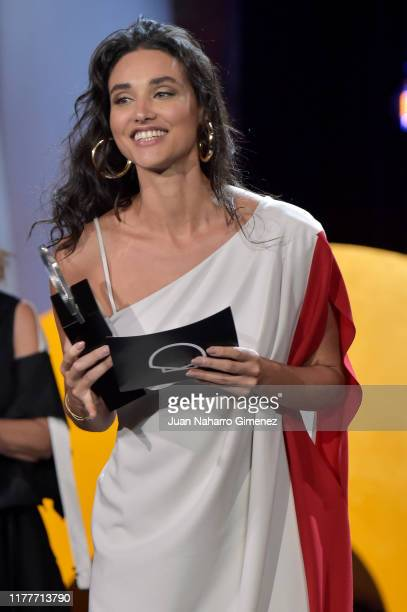 Actress Débora Nascimento receives the best actor award during the ceremony on the closure day of 67th San Sebastian International Film Festival on...