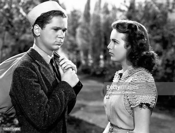 Actress Deanna Durbin and Jackie Cooper in a scene from the movie That Certain Age